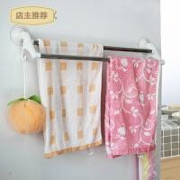 浴室卫生间双杆免钉挂毛巾架子不锈钢免打孔挂架吸盘式挂钩毛巾杆SN1516