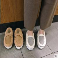 毛毛鞋女百搭潮款圆头羊羔毛拼接保暖绒里平底套脚乐福棉鞋潮
