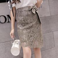 蕾丝半身裙女新款韩版高腰包臀短裙绑带开叉A字裙ins超火裙子