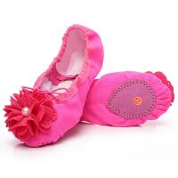 幼儿童猫爪红绿芭蕾舞鞋中国舞蹈鞋软底花朵珍珠练功女童练功鞋蓝