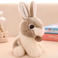 小白免毛绒玩具 可爱兔兔毛绒玩具仿真兔子小白兔玩偶公仔儿童生日礼物送女生 灰色 统一包装 坐高20厘米
