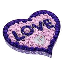 心型99朵玫瑰花礼盒 七夕情人浪漫生日礼物女生创意肥皂永生玫瑰香皂花束心形礼盒 BX 99朵紫LOVE+灯