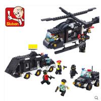 小鲁班积木拼装玩具 防暴机动队创意模型男孩儿童智力拼插玩具