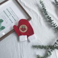 cream2018冬季新款婴幼儿童保暖手套男女童宝宝时尚笑脸手套
