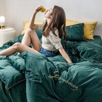 网红色宝宝绒水晶珊瑚绒双面绒加厚1.8床单法兰绒床上四件套女 绒 抹茶绿