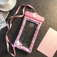 手机防水袋触屏iphone7plus潜水套气囊游泳手机通用6苹果8X手机壳 凯蒂猫气囊防水袋