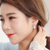 925银耳针耳环蝴蝶结吊坠耳饰女士韩版时尚气质耳钉