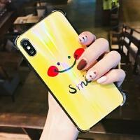 笑脸渐变玻璃苹果x手机壳新款iphone6/7/8潮牌女款个性创意情侣男 黄色 黄笑脸