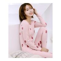 冬季少女学生保暖贴身内衣睡衣套装厚加绒无痕修身秋衣秋裤家居服 巧克力色 5001粉色草莓