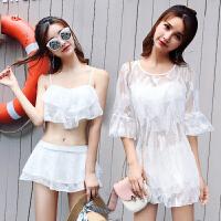 分体裙式泳衣女三件套小胸聚拢性感遮肚显瘦韩国小香风温泉游泳衣 白色 M(建议80-95斤)