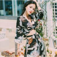 2019海南三亚巴厘岛海边度假风沙滩裙水墨蝴蝶连衣裙两件套长裙夏 黑色