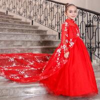 儿童公主裙秋冬新款女童长袖晚礼服花童裙婚纱模特走秀拖尾蓬蓬裙 红色