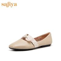 Safiya/索菲娅春季蝴蝶结港风平底低跟皮鞋女SF91111065