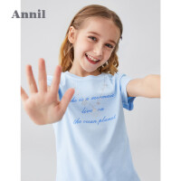 【199元3件】安奈儿童装女童T恤薄款2020夏季新款中大童领口绣花短袖洋气上衣