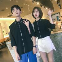 情侣装夏装新款韩版修身衬衫男女气质七分袖衬衣休闲寸衣工装潮