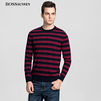 BOSSsunwen秋冬款羊毛衫圆领打底针织衫男士毛衣长袖