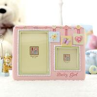 欧式相框摆台6寸婴幼儿照片框 创意画框摆台组合双孔宝宝相架 粉色(女孩) 6寸+3x3寸