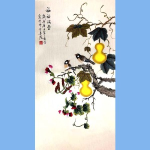 北京市美术家协会会员,北京市著名工笔画画家凌雪(福禄满堂)竖