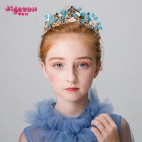 儿童皇冠头饰公主蓝色花仙子发箍头花女童发饰花环走秀演出饰品