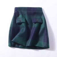 小谷女装K¥10 秋季韩版高腰侧拉链显瘦包臀裙格子半身裙