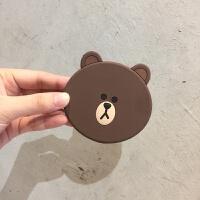 韩国可爱小熊随身小镜子化妆镜便携硅胶椭圆迷你卡通补妆手拿镜1