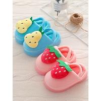 宝宝棉拖鞋冬季1-3岁女童保暖可爱水果小孩软底儿童拖鞋冬女包跟