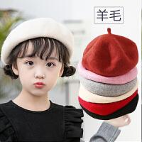 儿童帽子羊毛贝雷帽画家韩版小孩宝宝帽子秋冬