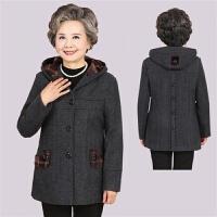 老年人衣服女中老年女秋冬装毛呢外套中长款奶奶装呢子大衣加绒厚