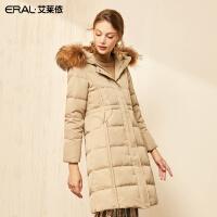 艾莱依2019冬季新款韩版显瘦连帽大毛领羽绒服女中长款601801215