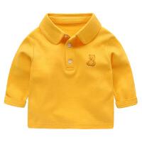 婴儿POLO衫长袖T恤春夏儿童男童宝宝女打底春装小童上衣幼儿 黄色 66(建议身高66cm)