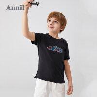 【3件3折价:50.7】安奈儿童装男童短袖T恤夏2020新款中大童个性透气衣摆男孩上衣薄