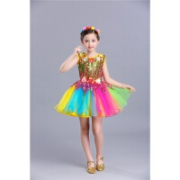 六一儿童蓬蓬裙演出服女童公主裙合唱幼儿园舞蹈服亮片纱裙表演服 金色 彩虹裙如图