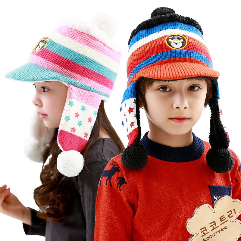 kk树儿童帽子冬女童帽子宝宝帽子秋冬小孩帽子护耳帽2-4-8岁男童帽子