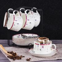 骨瓷咖啡杯�W式��s咖啡杯套�b6杯��意下午茶具英式�t茶杯