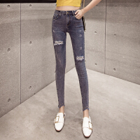 九分牛仔裤女春季新款韩版破洞秋高腰显瘦弹力春款网红小脚裤