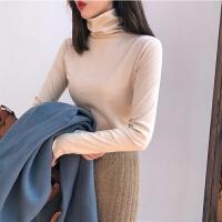 薄款高领打底衫女装秋冬季韩版修身上衣学生纯色显瘦长袖T恤