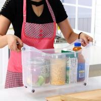 百露带手柄厨房收纳箱水槽橱柜收纳盒子厨房用品用具塑料带轮