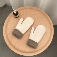 甜美可爱韩版卡通冬季手套女冬加厚保暖学生针织手套骑行 均码