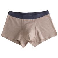 3条装男士内裤男平角裤一片式无痕棉质透气运动四角短裤头青年 潮 浅灰+咖啡+青色 NK-8棉质无痕