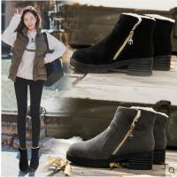 百搭新款潮鞋中跟磨砂女鞋短靴保暖女靴子圆头棉靴韩版绒面雪地靴