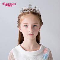 儿童礼服头饰公主皇冠女童生日演出女孩发箍王冠水钻花童发饰发夹