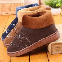 男士冬季棉拖鞋保暖厚底情侣全包跟毛毛鞋防滑高帮室内居家用棉鞋