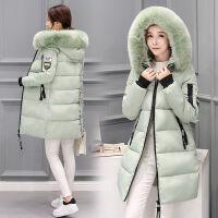 【】冬装棉衣女中长款加厚外套白色棉袄大毛领