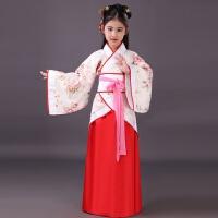 新款古装女孩儿书童幼儿宝宝国学汉服曲裾服装表演出三字经春秋 大花红裙