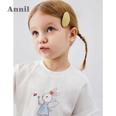 【159元3件】安奈儿童装女童T恤2020夏季新款经典印花优雅甜美圆领短袖