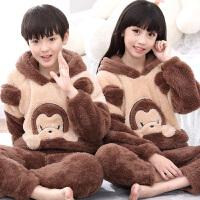 儿童睡衣法兰绒冬季厚珊瑚绒宝宝家居服动物中大童小孩套装