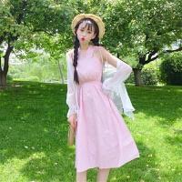洛丽塔Lolita2019新款甜美后背交叉绑带V领无袖连衣裙外搭防晒衣开衫套装女夏 均码