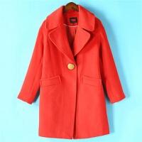 专柜折扣女装 飘系列2019冬装新品大纽扣红羊毛呢大衣458剪标 红色