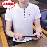 男士短袖t恤夏季纯色潮流圆领绣花韩版修身黑白色潮牌半袖打底衫