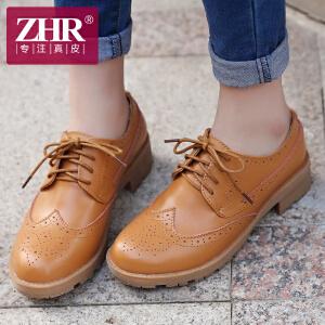 ZHR2017春季新款英伦风复古女鞋布洛克单鞋女粗跟真皮鞋休闲鞋E80